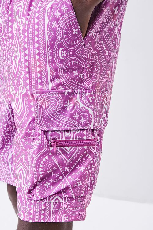 Bandana Print Drawstring Cargo Shorts, image 6