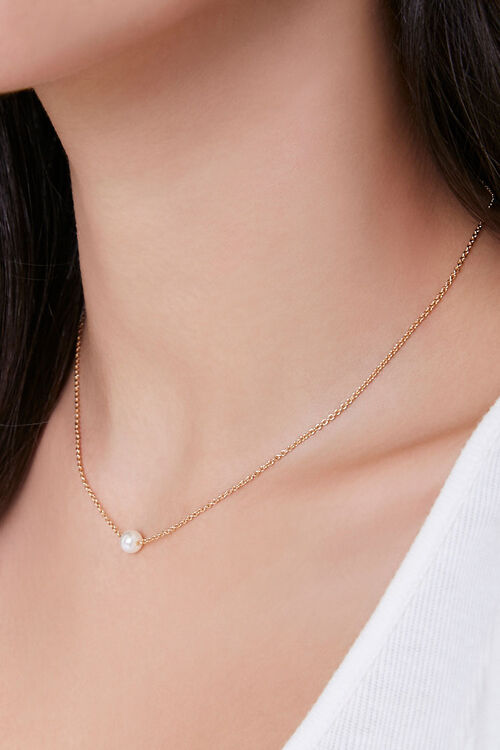 Faux Pearl Charm Necklace, image 1