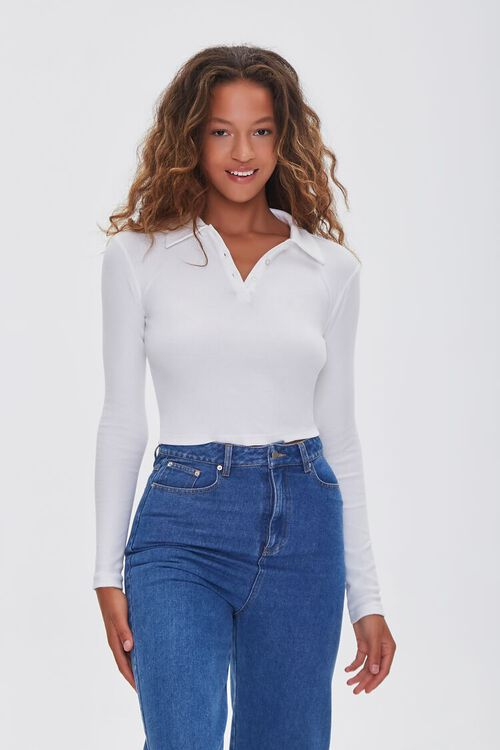 IVORY Collared Long Sleeve Top, image 1
