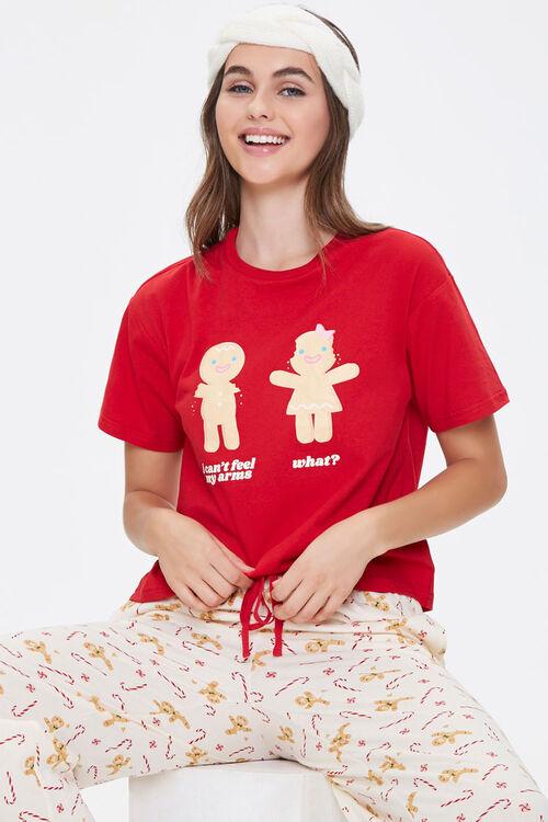 Gingerbread Tee & Pants Pajama Set, image 1