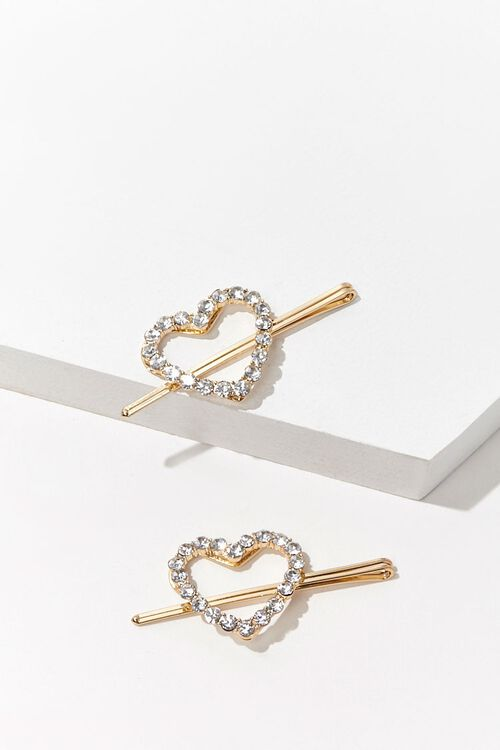 Faux Gem Heart Bobby Pin Set, image 1