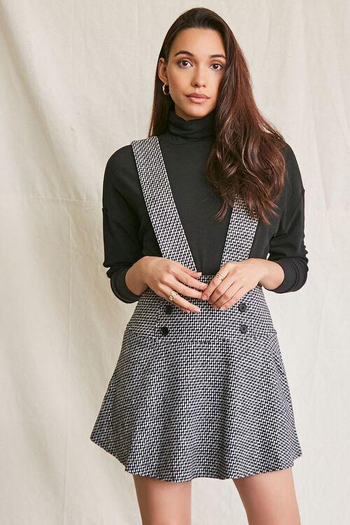 BLACK/MULTI Double-Breasted Mini Pinafore Dress, image 1
