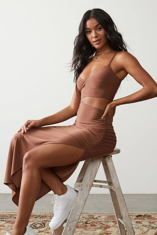 MOCHA Ruched Cutout Cami Maxi Dress, image 1