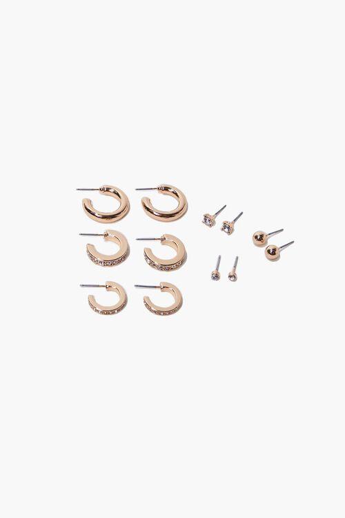 GOLD Faux Gem Hoop & Stud Earring Set, image 1
