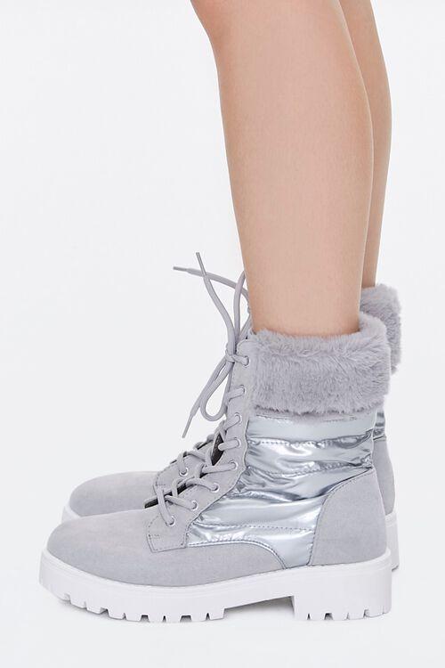 Fur-Trim Paneled Combat Boots, image 2