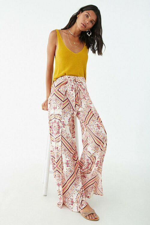 Ornate Print Knotted Overlay Pants, image 5