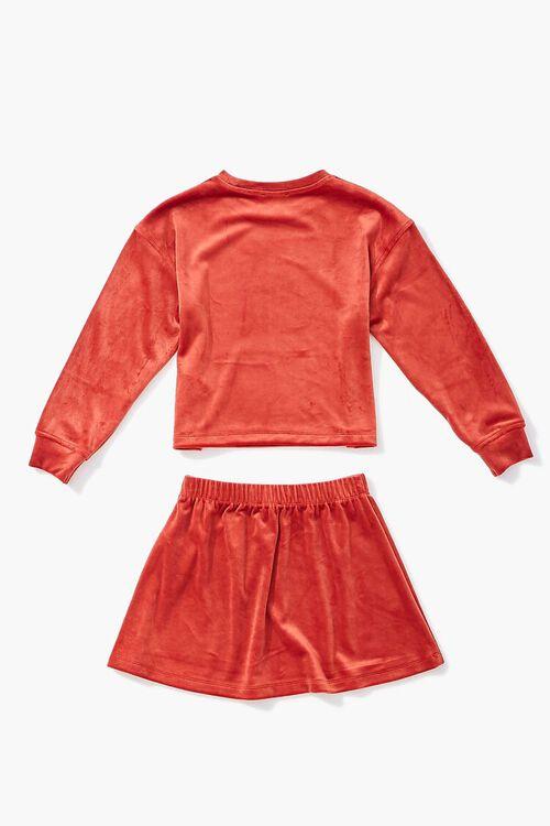 RUST Girls Velvet Tee & Skirt Set (Kids), image 2