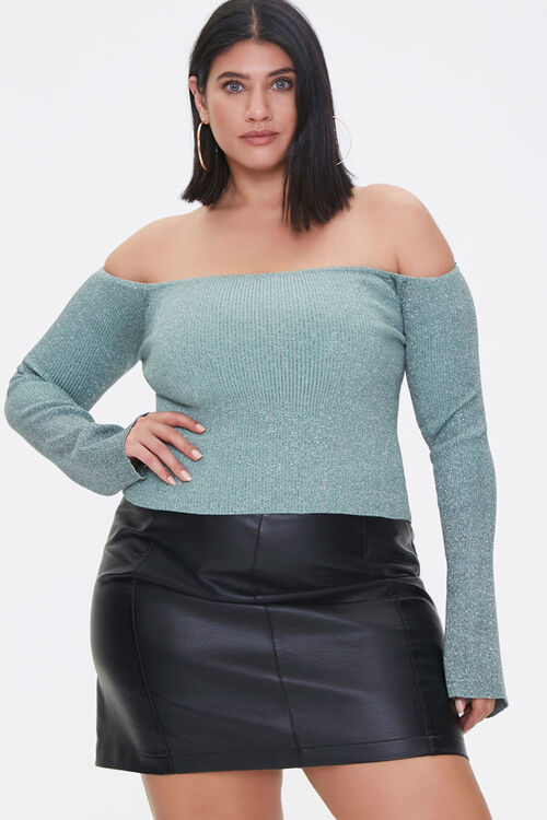 Plus Size Off-the-Shoulder Sweater, image 1