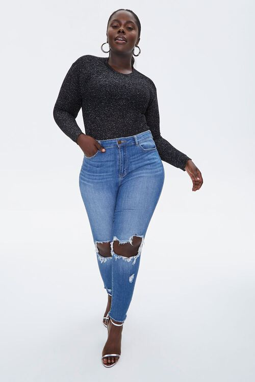 Plus Size Glitter Sweater-Knit Top, image 4