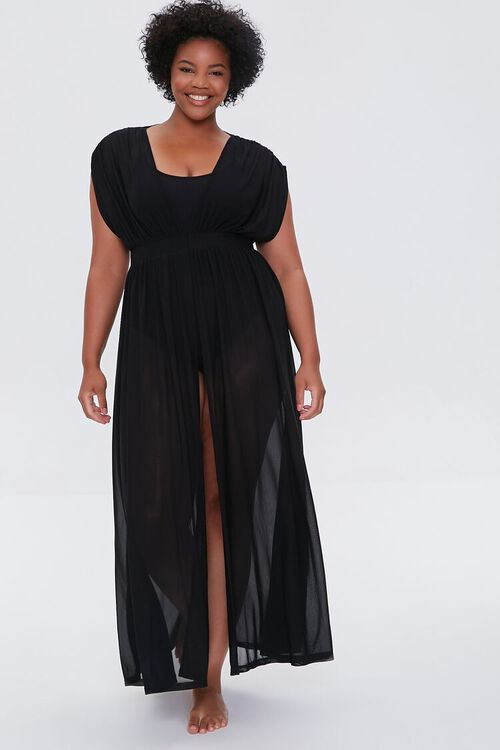 Plus Size Sheer Mesh Swim Cover-Up Dress, image 1