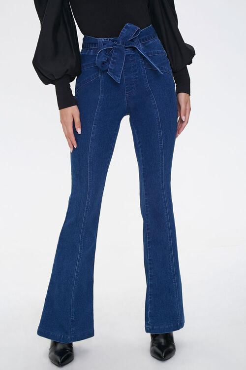 Tie-Belt Flare Jeans, image 2
