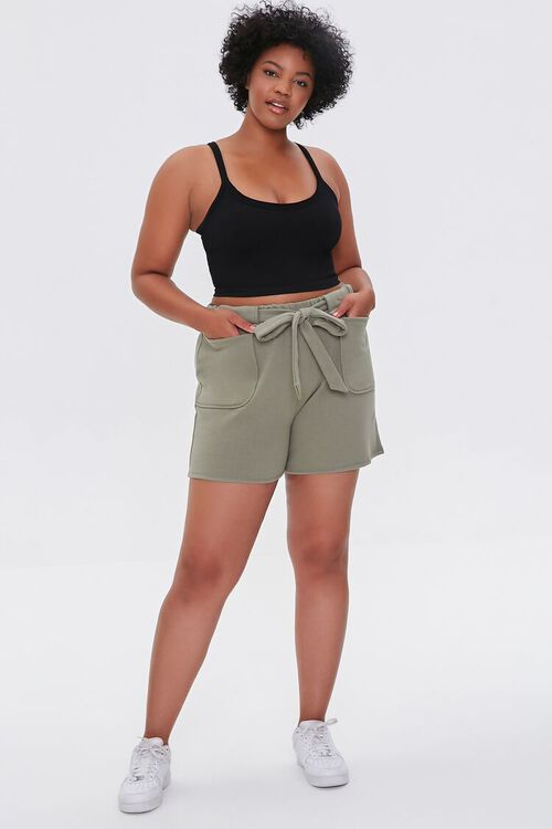 Plus Size Fleece Tie-Waist Shorts, image 5