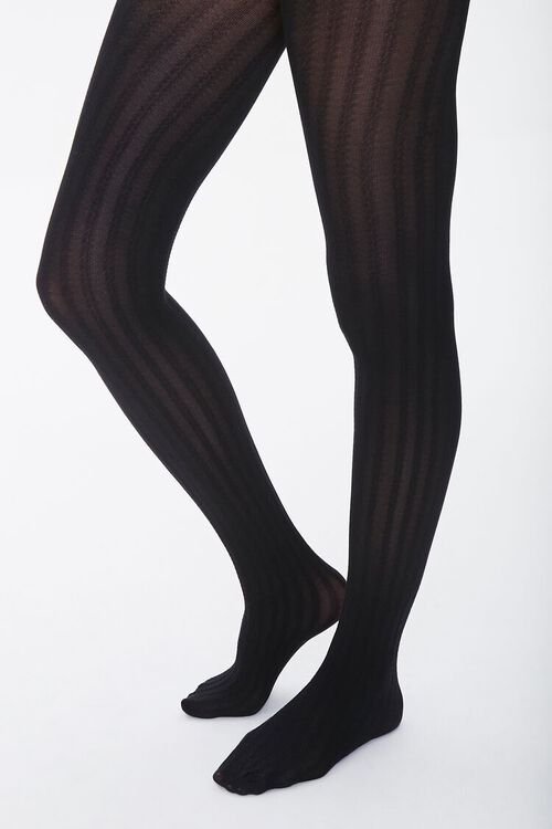 Opaque Ribbed Tights, image 1