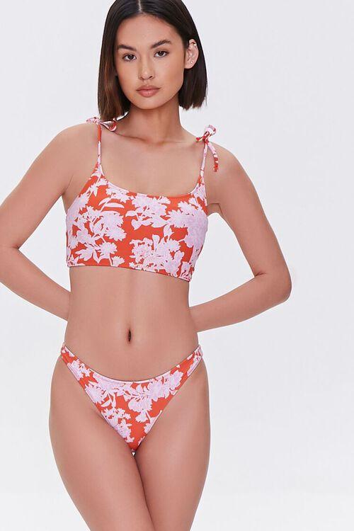 Floral Cheeky Bikini Bottoms, image 1
