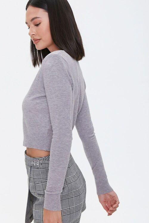 HEATHER GREY Shoulder-Pad Cardigan Sweater, image 2
