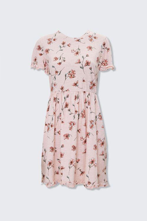 LIGHT PINK/MULTI Ruffled Floral Mini Dress, image 1
