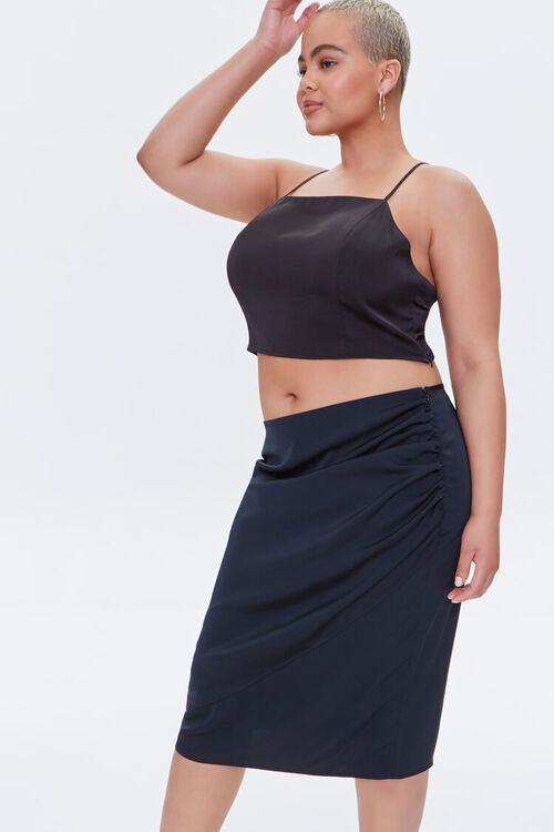 Plus Size Ruched Tulip-Hem Skirt, image 1