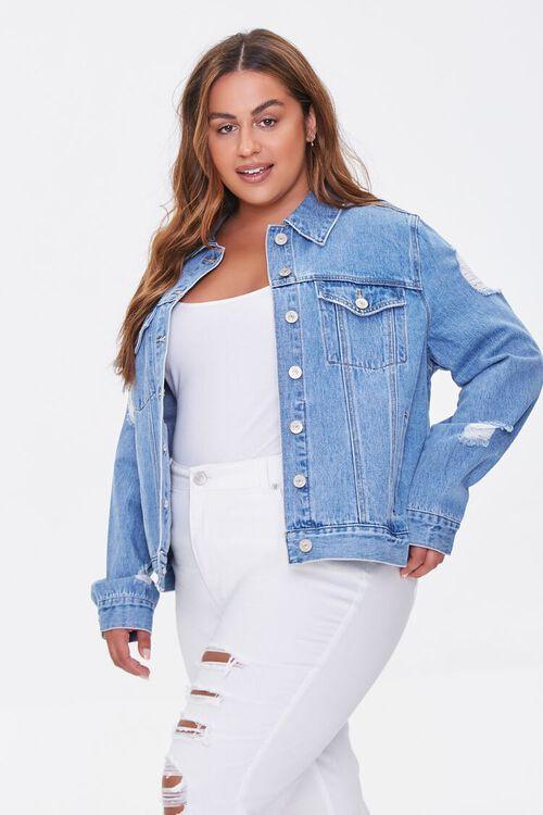 Plus Size Distressed Denim Jacket, image 1