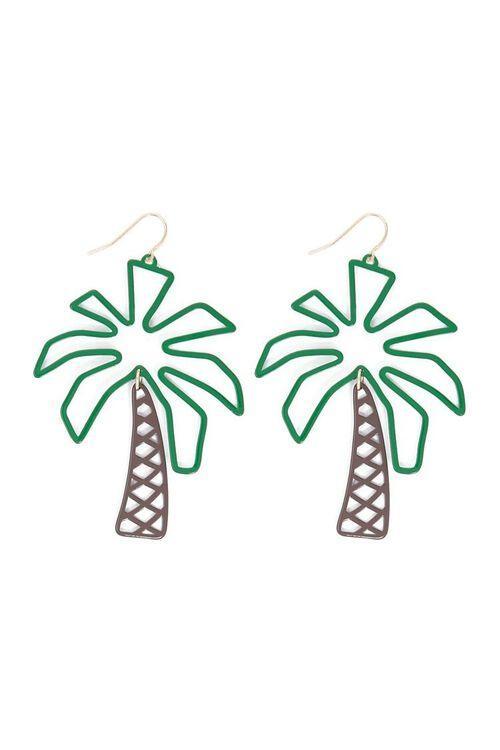 GREEN/BROWN Palm Tree Drop Earrings, image 2