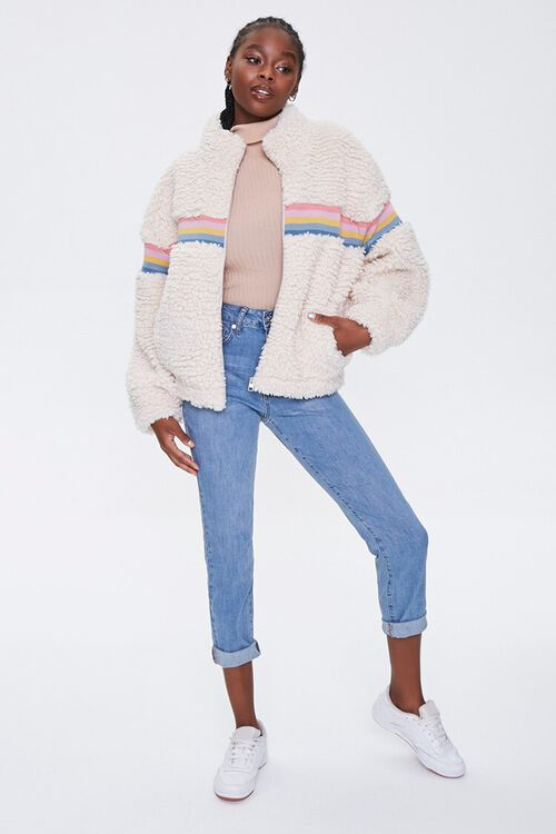 Striped Faux Shearling Jacket, image 4