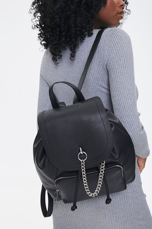 Faux Leather Drawstring Backpack, image 1