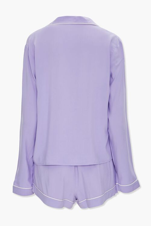 Piped-Trim Shirt & Shorts PJ Set, image 3