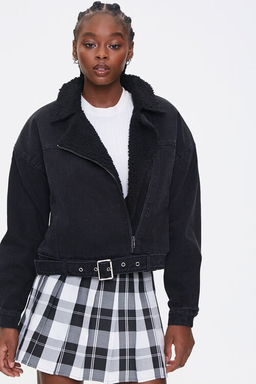 Faux Shearling Denim Jacket, image 1