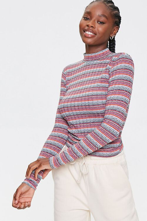 Striped Waffle Knit Top, image 1