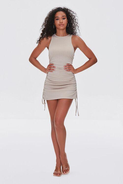 TAUPE Ruched Drawstring Mini Dress, image 4