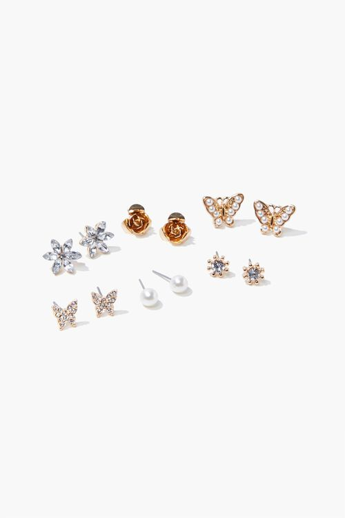 GOLD/CLEAR Butterfly Stud Earring Set, image 1