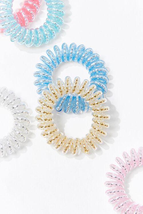 PINK/MULTI Glittered Spiral Hair Tie Set, image 2