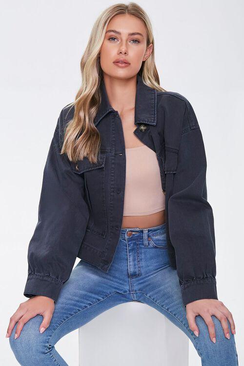 Denim Button-Front Jacket, image 1