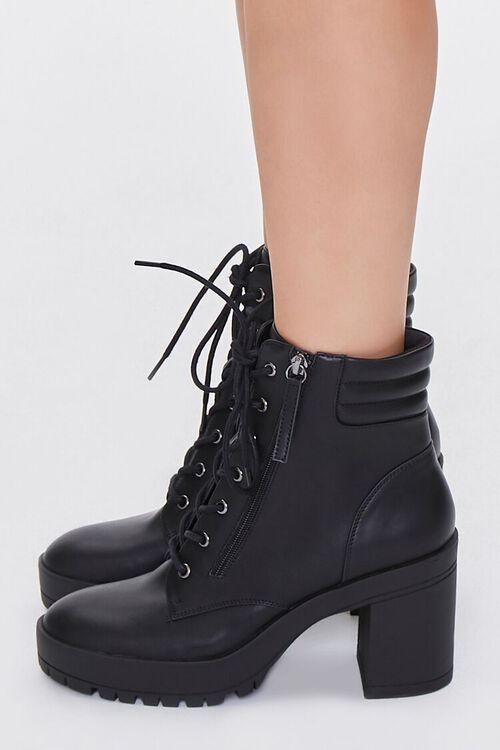 BLACK Faux Leather Block Heel Booties, image 2