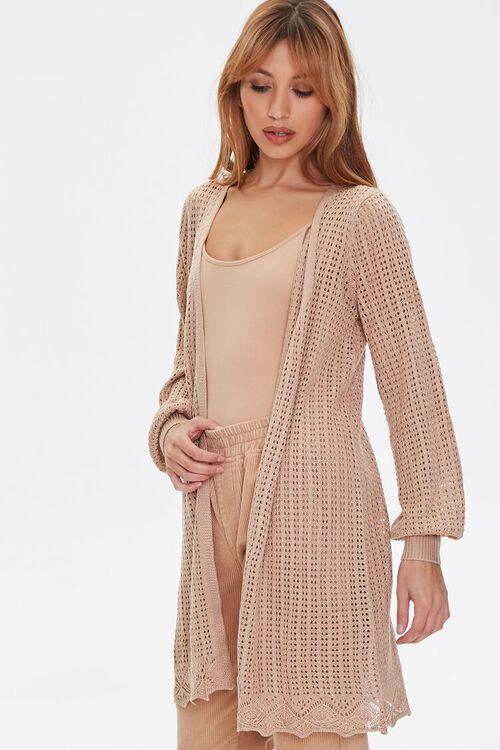 TAUPE Geo Cutout Cardigan Sweater, image 1
