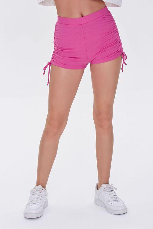 HOT PINK Ruched Drawstring Shorts, image 2