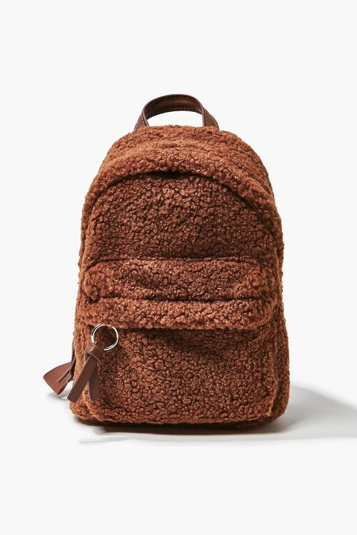 Faux Shearling Zippered Backpack, image 1