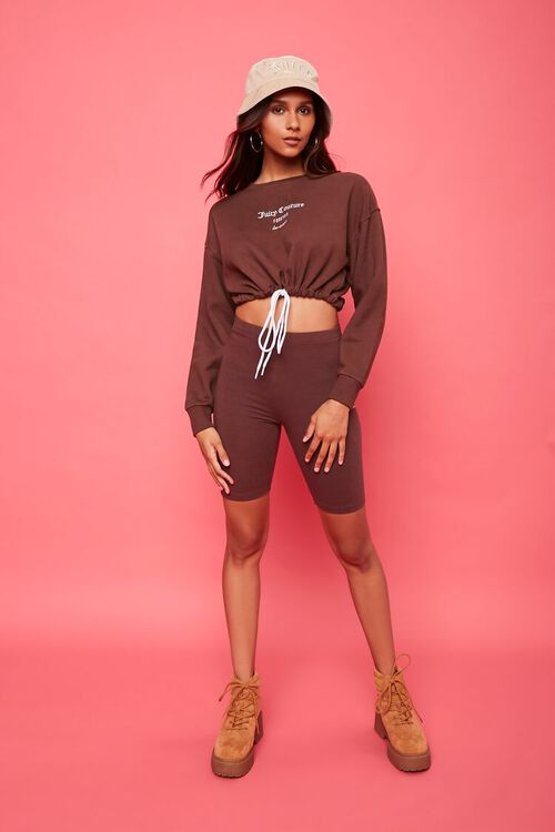 BROWN/WHITE Fleece Juicy Couture Cropped Pullover, image 4