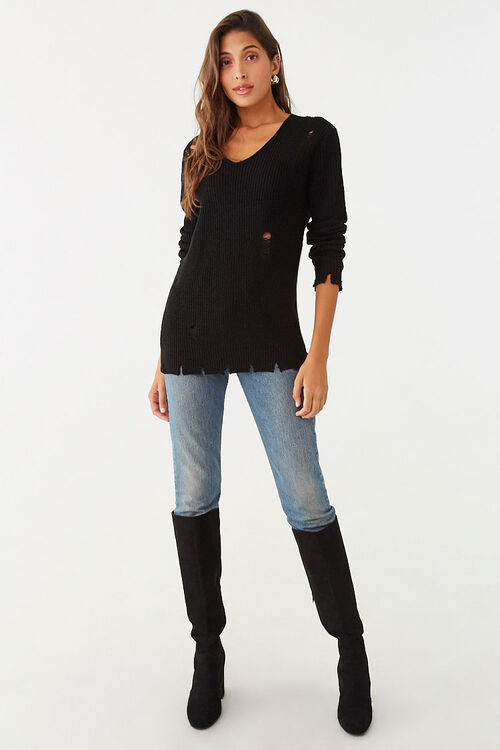 Distressed Ribbed Sweater, image 4