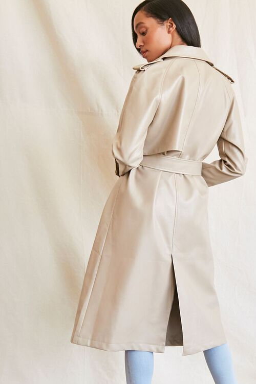 DESERT SAND Faux Leather Trench Coat, image 4