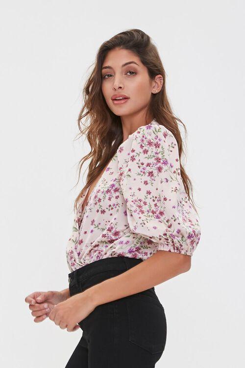Floral Print Surplice Bodysuit, image 2