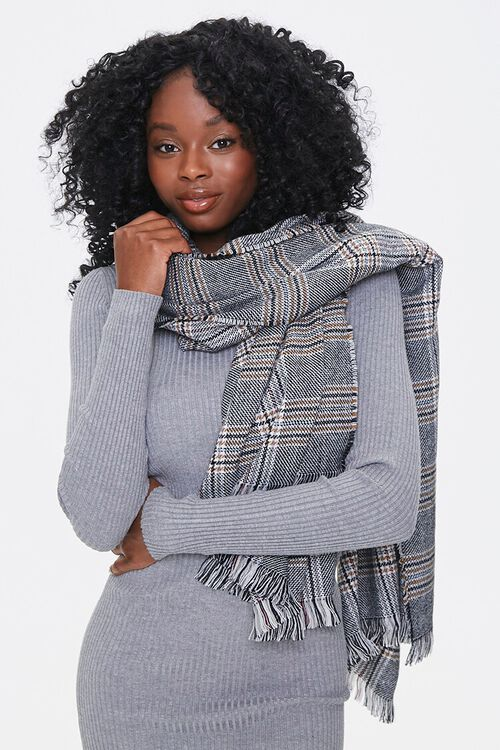 Plaid Fringe-Trim Scarf, image 1
