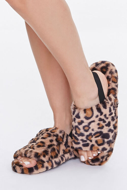 Faux Fur Open Toe Slippers, image 1