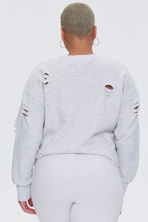 Plus Size Heathered Distressed Pullover, image 4