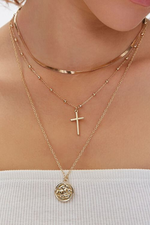 GOLD Upcycled Cross Pendant Layered Necklace, image 1