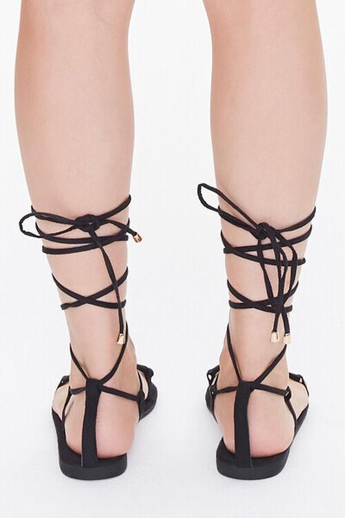 BLACK Thong-Toe Gladiator Sandals, image 3
