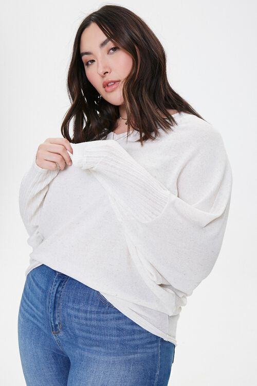 Plus Size Ribbed Dolman-Sleeve Top, image 1