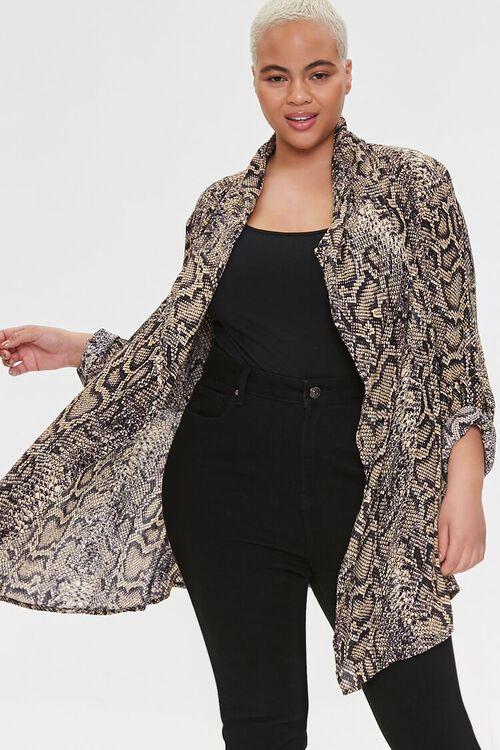 Plus Size Snakeskin Print Kimono, image 2