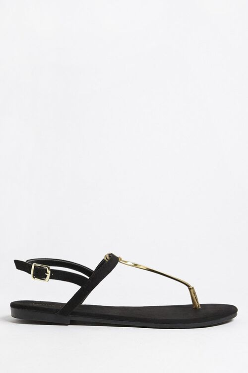 Metallic Faux Leather Thong Sandals, image 1