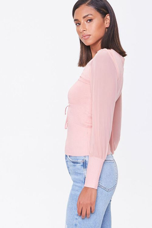 Sweater-Knit Ruched Top, image 2