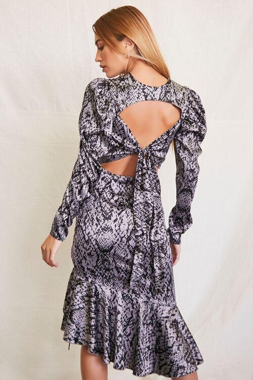 GREY/BLACK Satin Snake Print Dress, image 3